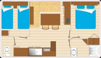 Mobil home Grand Confort - 4/5 personnes 2 chambres plan