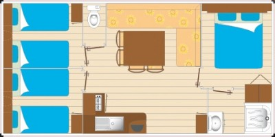 Mobil home Grand Confort - 6 pers 3ch plan