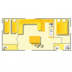 Mobil home Grand Confort - 4/7 personnes 2 chambres plan